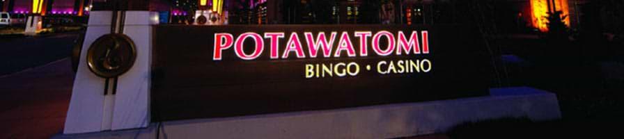Schild des Potawatomi Casino Hotels