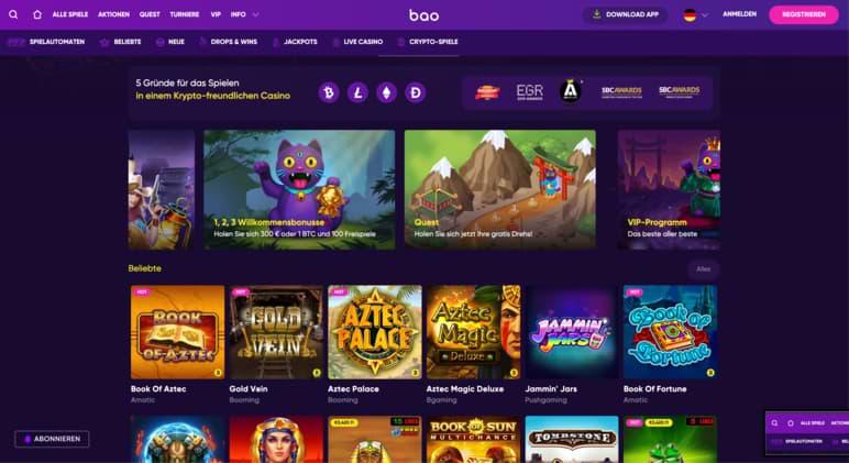 Bao Casino Online Casino Home Screenshot
