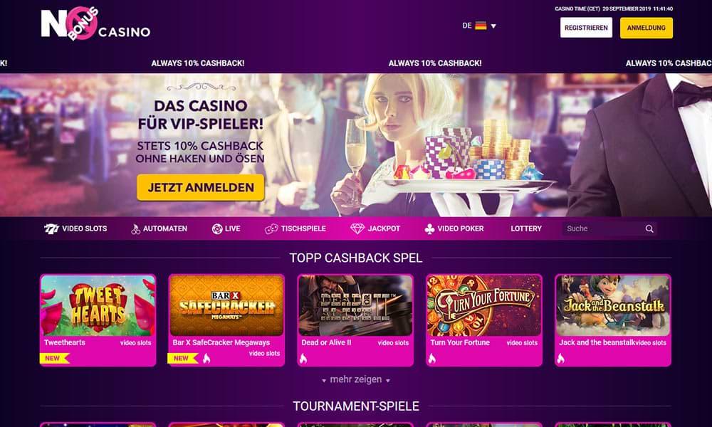 Screenshot von No Bonus Casino auf dem Computer